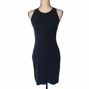 ME TO WE BLUE RIBBED HALTER BODYCON DRESS